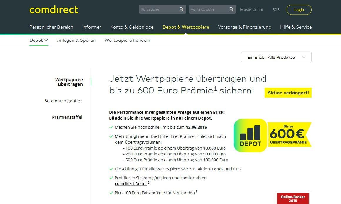 DepotГјbertrag Comdirect