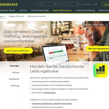 comdirect ordert Depotfunktionen und Informationen im Online Banking neu an