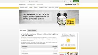 Commerzbank lockt Neukunden mit Wechselprämie zum Depot – bis 30. Juni 2017