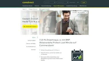 comdirect Bank bewirbt Aktienanleihe von BNP mit 7,15% Zinsertrag p.a.