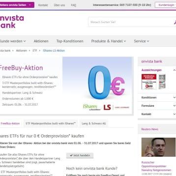 OnVista Bank bietet Kunden ETFs von iShares ohne Ordergebühren während Aktionszeit