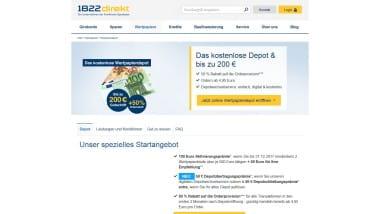 1822direkt bewirbt bis 28. September 2017 mit bis zu 200 Euro für Depot Neukunden