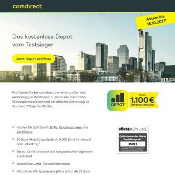 comdirect Bank bewirbt Depotübertrag – Kunden können bis 1.000 Euro Prämie erhalten
