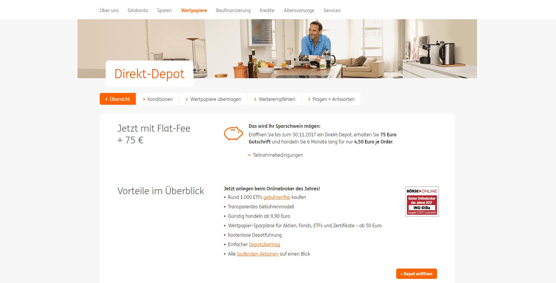 Ing Diba Bewirbt Direkt Depot 75 Euro Gutschrift Und Flat Fee